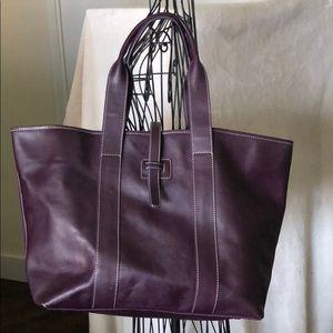 J. McLaughlin Large Purple Leather Tote